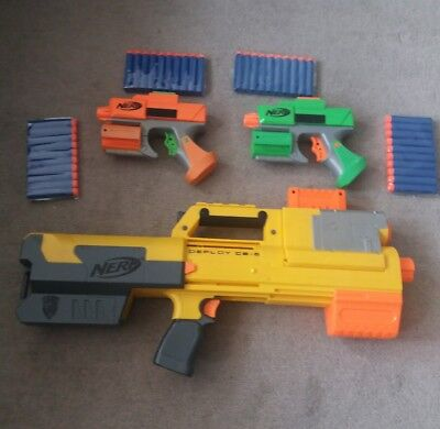 Nerf Deploy CS-6 With laser & 2 Dart Tags guns & 40 Brand New Darts Bundle job