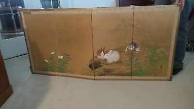 "Vintage Japanese Four Panel Hand Painted ""Rabbits"" Gold Silk Screen"