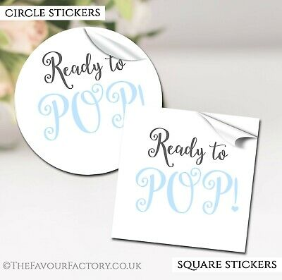 GLOSSY Ready To Pop Blue Baby Shower Party Favours STICKERS labels