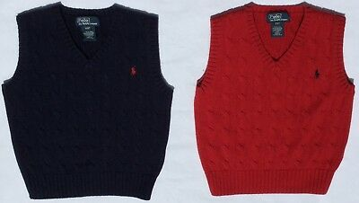 Lot of 2 Polo Ralph Lauren Boys' Cable Knit Cotton Sweater Vests Navy & Red 4/4T