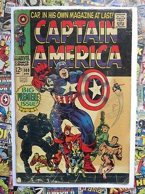 Captain America #100 - Apr 1968 - Black Panther Appearance - Gd (2.0) Cents!