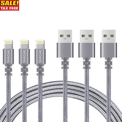 3 Pack 6 Ft Lightning Cable Fits iPhone X 8 7 6 USB Charging Cord Heavy Charger