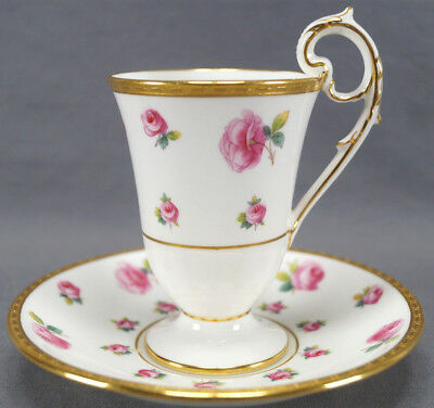 Minton Tiffany Pink Rose & Gold Encrusted Chocolate Cup & Saucer C. 1902 - 11 A