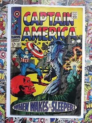 Captain America #101 - May 1968 - When Wakes The Sleeper! - Vg- (3.5) Cents!