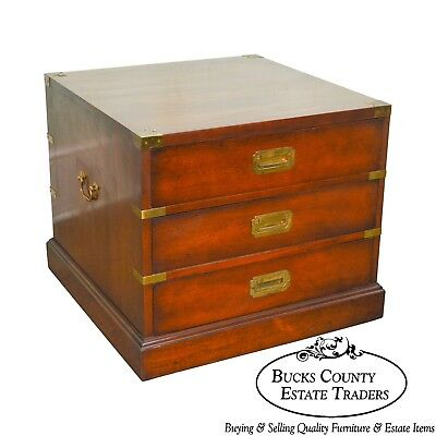 Campaign Style Vintage Mahogany Square 3 Drawer Chest