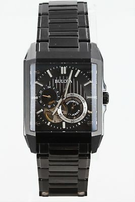 Bulova Men's 98A180 Automatic 21 Jewels Skeleton Dial Black Ion Plated Watch