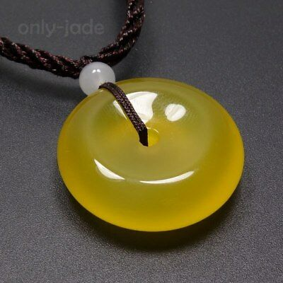 Natural Yellow Agate Chalcedony JADE PENDANT Ping'an Circle Donut Amulet 15005