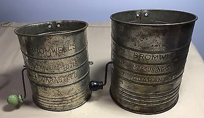 2 BROMWELLS MEASURING SIFTER 5 & 3 CUP VINTAGE ANTIQUE Rustic COOKING DECOR Prim