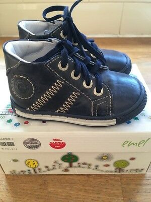 Baby Emel Blue Leather First Shoes Size 20 UK 4