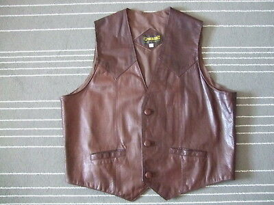 OwingS XXXL Echt Leder Weste braun Fine Genuine Leather Made in Mexico