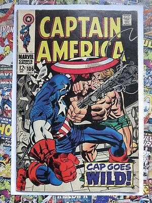 Captain America #106 - Oct 1968 - Cap Goes Wild! - Vg (4.0) Cents!
