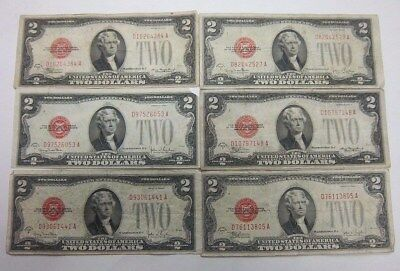 6 $2 1928 D G F Series Red Seal Notes Currency Collection