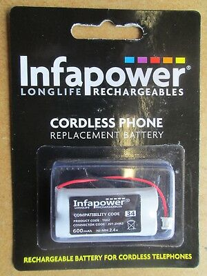 INFAPOWER RECHARGEABLE CORDLESS PHONE BATTERY NEW 34 T002 600mAh Ni-MH 2.4v