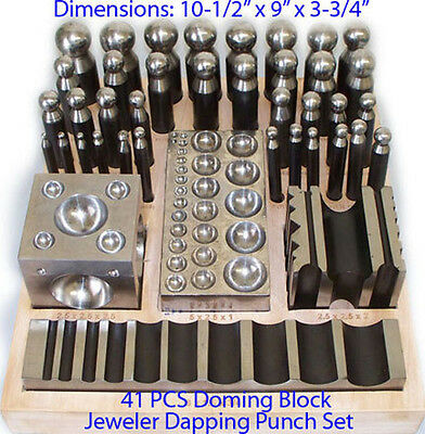 Large 5 Piece Dapping Doming Punch Set 28-45 mm Forming Metal With Wooden Stand