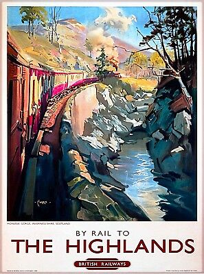 By Rail to the Highlands Scotland British Railways Vintage Travel Poster Print