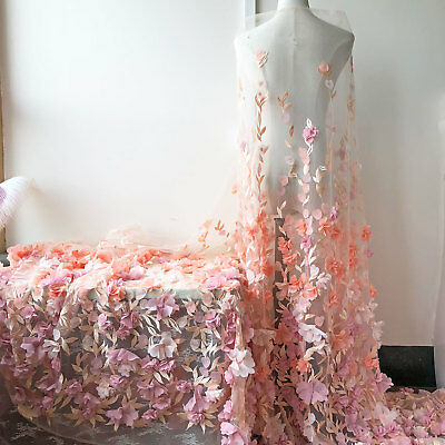 Silk Flower Wedding Costume Trim Embroidery Blossom Bridal Tulle Lace Fabric 1 Y