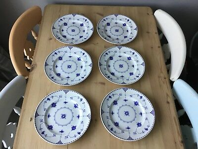 """6 Johnson Brothers Denmark Blue 10"""" Dinner Plates Great Condition"""