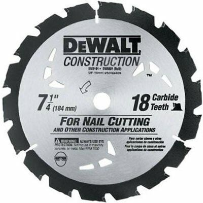 """DEWALT, 7-1/4""""18 Tooth Nail Cutting Saw Blade with 5/8"""" &Diamond Knockout Arbor"""