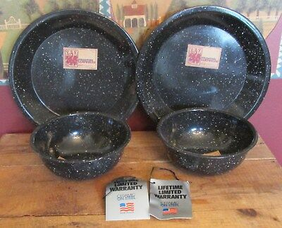 Vintage Frontier Camp Ware 4 Pieces Ceramic on Steel New Old Stock