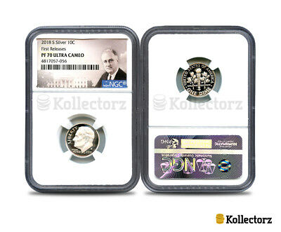2018 S Silver Roosevelt Dime Ngc Pf70 Ultra Cameo Portrait First Releases!!