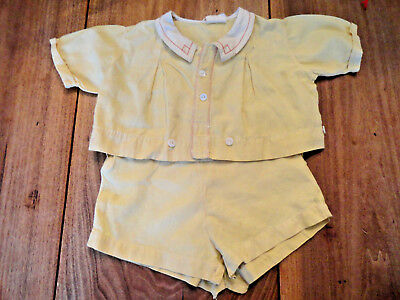 Vintage Yellow 1940's Two Piece Baby Outfit