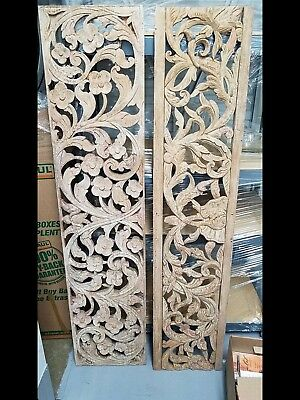 Antique Botanical Panels—Exquisite Hand-Carved Unfinished/Asian origin/ 5' x 13""