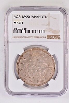 Japan NGC MS61 M28 (1895) Silver Yen .99c NO RESERVE