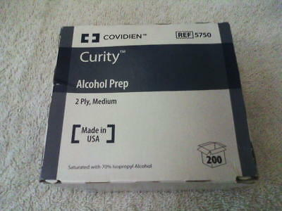Covidien Curity 200 Alcohol Prep Pads Sterile Medium, 2-Ply NEW FACTORY SEALED