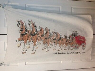 Vintage Budweiser Clydesdale Horses Wagon Terry Cloth Towel Large 56X32 Inches