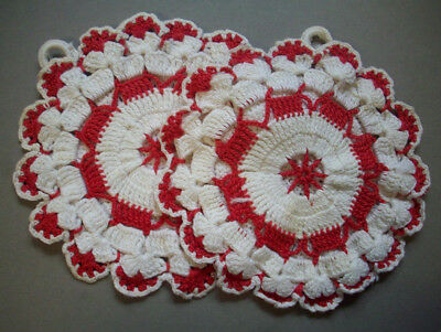 2 hand crocheted light red rose  potholders hot pads pot holders double thick