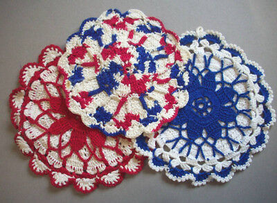 3 hand crocheted patriotic red white blue potholders hot pads pot holders