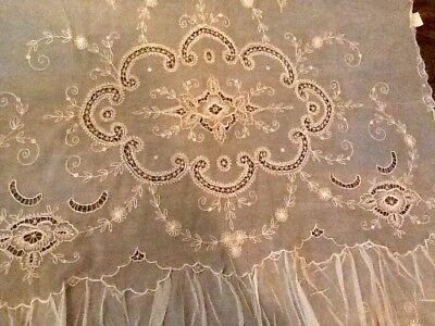 Vintage Pair Embroidered Tambour Net Lace Curtains