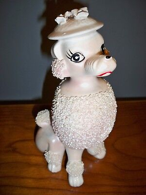 "Vintage Textured Pink Girl Poodle Figurine 7.5"" Tall Hat With Flowers"