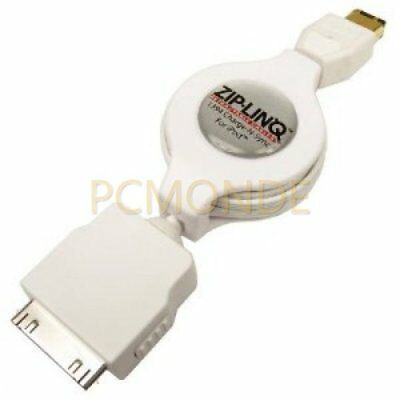 Retractable iPod Firewire Charge/Synch Cable (White)