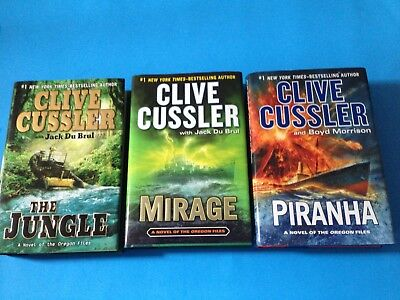 Lot Clive Cussler Oregon Files The Jungle Mirage Piranha Hardcovers Dust Jackets