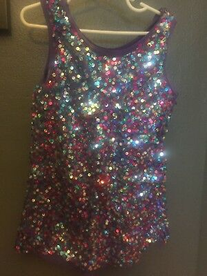 Girls Dance Recital or Dress up Costume, Plum in color w/Sequins, Size Medium