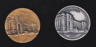 Melbourne Numismatic Society. 1976 ANZ Bank 75th anniv of Federation medal set