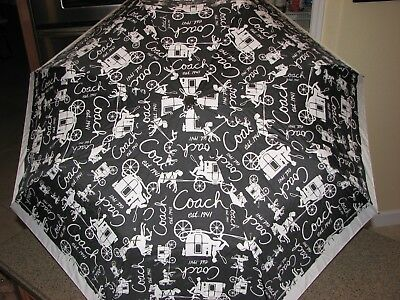 Coach Collapsible Carriage Black/Off White Print Umbrella  ***VGC***