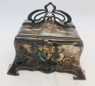 WMF Antique German Silver Plated Jugendstil Art Nouveau Lady Jewelry Box