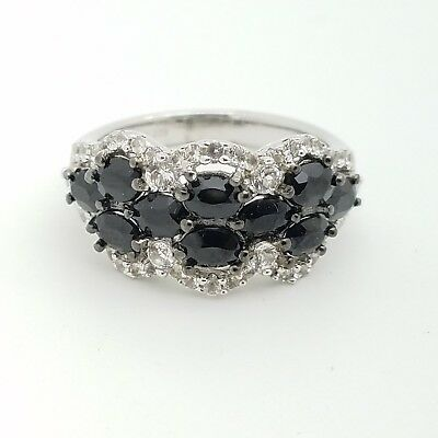New Sterling Silver 925 Yellow Topaz Flower Black Spinel Heart Band Ring Size 7