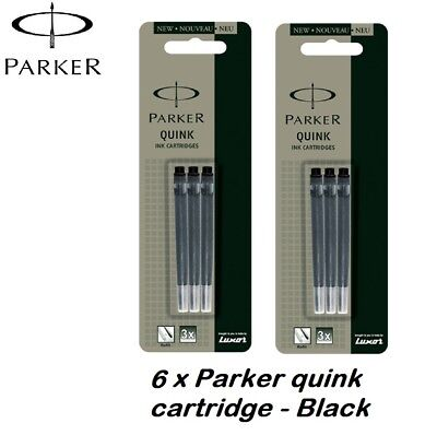 6 X PARKER quink ink Cartridges refills Genuine Fits parker fountain pens  BLACK
