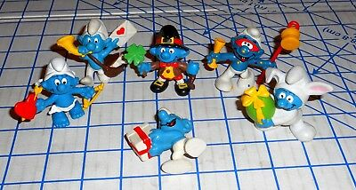Lot of 6 Schleich Peyo Holiday Smurf PVC Figures Easter Valentines St Patrick VG