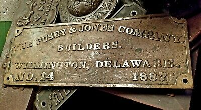 Historic PUSEY JONES Shipbuilders Wilmington Delaware Antique Bronze Plaque