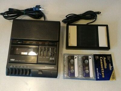 Panasonic RR-830 Cassette Transcriber w/ Foot Pedal RP-2692 & 2 New Tapes TESTED