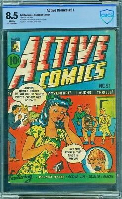 Active Comics #21, Cbcs 8.5 Vf+, Canadian White, Single Highest Graded!