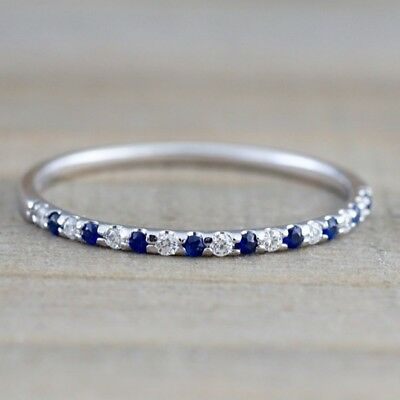 925 Silver With Platinum Plated Ruby Sapphire CZ Bands Wedding Anniversary Ring
