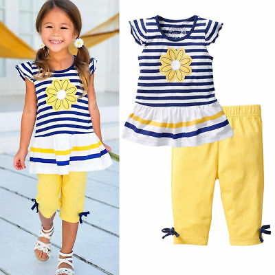 US Stock Baby Girls Kids Clothes Short Sleeves T-Shirt + Pants 2Pcs Outfits Sets