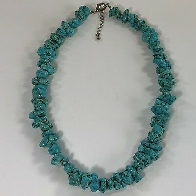 """Vintage Turquoise Natural Stone Bead Necklace from Hawaii 17"""" Plus Extension"""