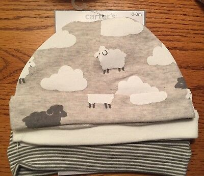Infant 3-hat Set Gray lambs  / solid Size 0-3 M NWT Carters
