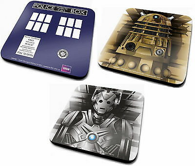 Official Doctor Who Coasters Dr Coaster Tardis Dalek Cyberman TV Gift